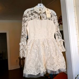 Lace Antique Inspired Pearl Cream Dress